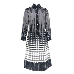 Vintage Lanvin 70s shirt dress black and white